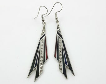 Vintage Enamel Geometric Long Dangle Earrings