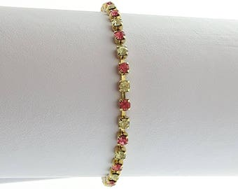 Vintage Tennis Bracelet - Simulated Diamond and Pink Sapphire