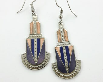 Peach and Lilac Art Deco Style Earrings