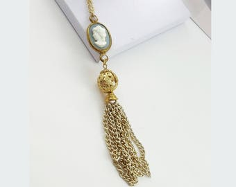 Cameo Tassel Necklace