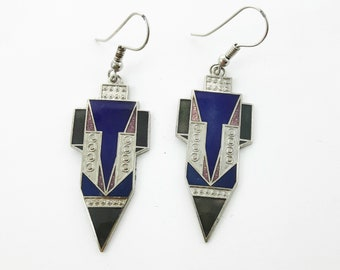 Silver Art Deco Style Blue Rocket Earrings