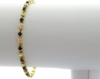 Vintage Tennis Bracelet - Faux Black and White Diamonds