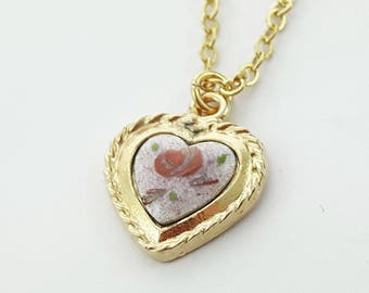 Vintage Lilac Painted Heart Charm Necklace