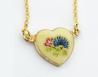 Vintage Blue Dahlia Print Heart Necklace
