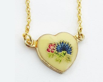 Vintage Blue Dahlia Heart Necklace