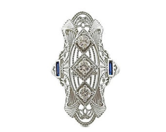 Art Deco Ring with Simulated Diamonds and Sapphires
