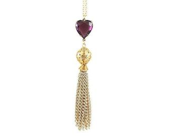 Amethyst Heart Tassel Necklace