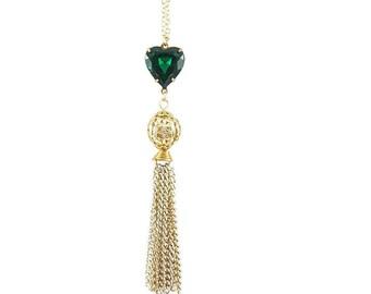 Emerald Heart Tassel Necklace