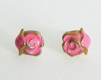 Tiny Pink Rose Studs