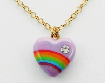 Rainbow Heart Necklace in Purple
