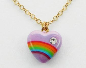 Rainbow Heart Necklace in Purple