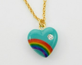 Turquoise Rainbow Heart Necklace