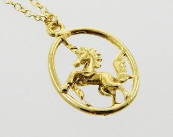 Oval Unicorn Pendant Necklace
