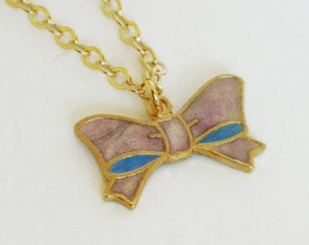 Lilac Enameled Bow Necklace