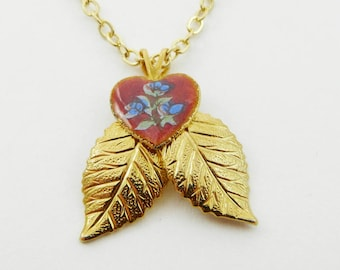 Red Floral Heart Gold Leaves Pendant Necklace