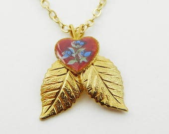 Red Guilloche Heart Gold Leaves Pendant Necklace