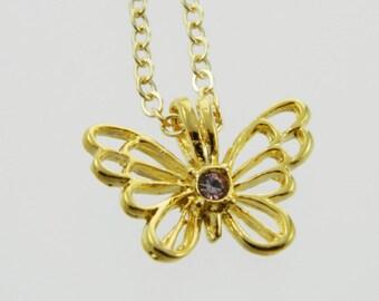 Butterfly Birthstone Necklace in Light Amethyst