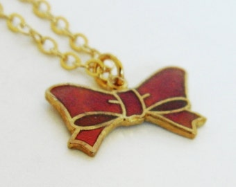 Red Enamel Minnie Bow Necklace