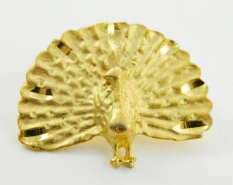 Vintage Gold Peacock Brooch