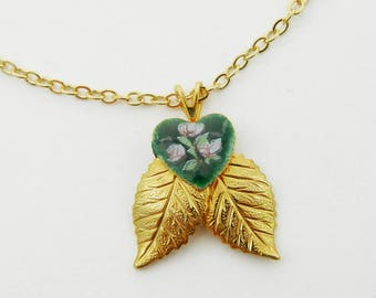 Green Guilloche Heart Gold Leaves Pendant Necklace