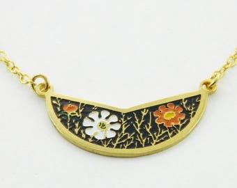 60s Mod Floral Crescent Necklace - Black, White and Orange