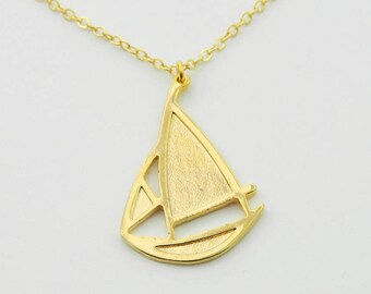 Gold Sailboat Necklace