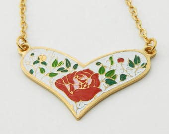 Enamel Rose Heart Necklace