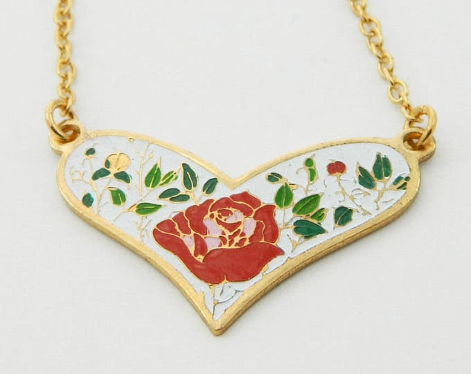 Featured listing image: Enamel Rose Heart Necklace