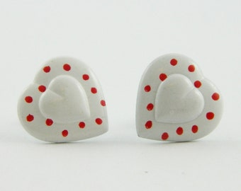 Polka Dot Heart Earrings