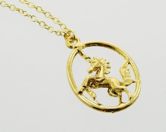 Oval Unicorn Pendant Necklace