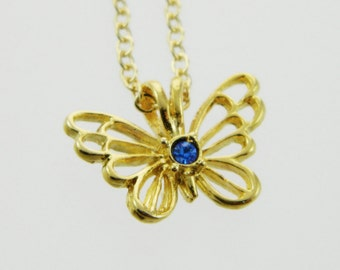 Butterfly Birthstone Necklace in Sapphire