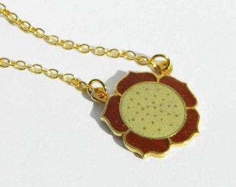 Vintage Enamel Flower Necklace
