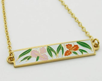 Vintage Tiki Hibiscus Print Bar Necklace