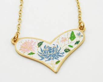 White Enamel Heart Necklace - Blue and Pink Dahlia