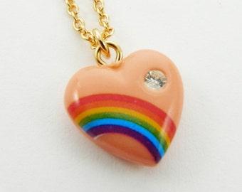 Peach Rainbow Charm Necklace