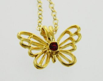 Butterfly Birthstone Necklace in Ruby