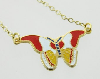 Vintage 70s Butterfly Necklace in Red, White and Yellow