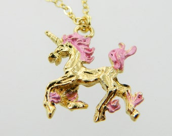 Unicorn Necklace in Pink