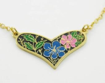 Vintage Enamel Floral Print Heart Necklace