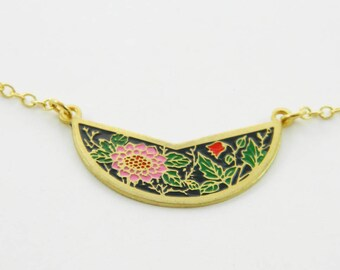 Pink Sunflower Crescent Necklace