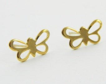 Vintage Gold Butterfly Earrings