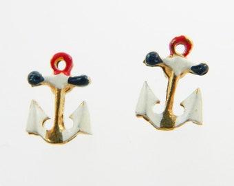 Vintage Anchor Stud Earrings