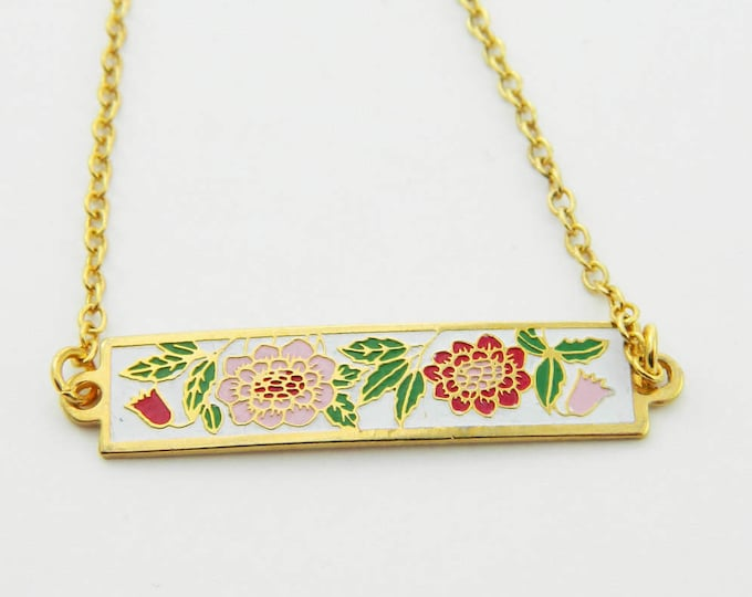 Featured listing image: Enamel Bar Necklace with Sunflowers