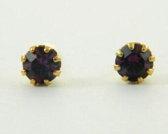 Petite Purple Crystal Stud Earrings
