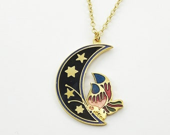 Crescent Moon Butterfly Necklace in Black