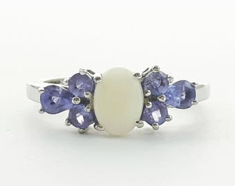 Natural Opal and Tanzanite Ring in Sterling Silver