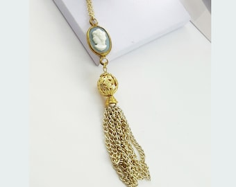 Cameo Tassel Necklace