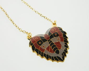 Enamel Moth Pendant Necklace