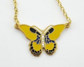 Yellow 70s Butterfly Necklace