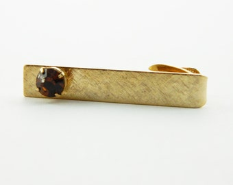 Etched Gold Coffee Stone Tie Clip